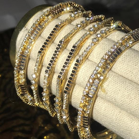 meilleur authentique dégagement comment acheter Artificial gold silver CZ Indian Bangle Set 6pcs
